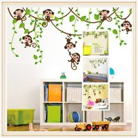 animal kingdom stickers - PVC Creative cute monkey tree climbing cartoon children bedroom decorative wall stickers sti Interesting wall stick The childs happy kingdom