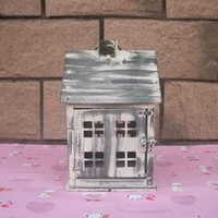 Wholesale Cheap retro wooden color country Metal candle holder Small cute Iron house design lantern