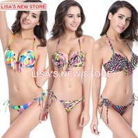 adorn m - 2016 Women Bikini Print Halter Women Swimwear Floral Retro Swimsuits Women Push Up Bikini Sling Adorn Summer Swimsuit Swimwear Bathing Suit