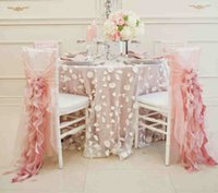 asia plains - 2016 Blush Pink Chiffon Chair Sash for Weddings Romantic Ruffles Wedding Decorations Chair Covers Chair Sashes Wedding Accessories C43