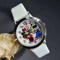 beautiful mice - Cartoon Beautiful girl Mickey Minnie mouse style Color number dial children students girl s leather quartz wrist watch