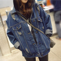 Wholesale 2016 New Women s Oversized Loose Denim Jean Jacket Korean Fall Cotton Long Sleeve Loose Retro Punk Short Coat