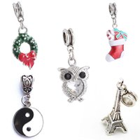 big diagrams - 50pcs Christmas Products Owl Tower Eight Diagrams Big Hole Charm Pendants Silvering DIY Jewelry Accessories Necklace Bracelet Pendant