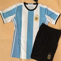 Wholesale DHL Thai B quality Season Soccer Jersey argentina Jerseys Uniform Shirt and Short Aguero MESSI shirt and short