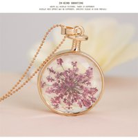 Wholesale New Round Pendant Necklace Dry Flower Glass long necklace Terrarium Accessories Statement Chain Necklace for Women