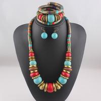 Wholesale Bohemian Retro Bronze Alloy Turquoise Pendant Jewelry Set New for Femme Pieces Set Necklace Earrings Bracelets for Women T122