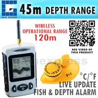 Wholesale FFW ft M Portable Wireless Sonar Dot Matrix Fish Finder Fishfinder Sonar Radio Sea Contour River Lake Alarm Thermometer C F