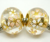 Wholesale 50pcs Round Flower Crystal Gold Core Beads for Jewelry Making Loose Lampwork Charms DIY Beads for Bracelet in Bulk Low Price