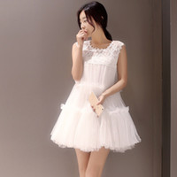 Wholesale Korean fairy gauze lace summer sleeveless loose princess skirt dress skirt female beach seaside resort