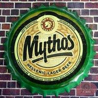 antique round wall plaque - Round MYTHOS BEER Bottle Cap Vintage Tin Signs Bar Pub Restaurant Wall Decor Metal Signs Plaque cm RM