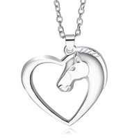animal relief - 11pcs silver plated alloy trendy Statement Relief Horsehead Hollow Peach Heart Embossed horse big pendant necklace women Hot x277