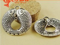 baby surplus - 37 MM Antique Silver pendant accessories baby goldfish May there be surpluses every year Chinese metal amulet charms