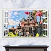 beautiful nature scenery - 3D Generic Windows Continental beautiful castle scenery Wall Decal Decor Sticker kindergarten living room vinyl Inspiration art