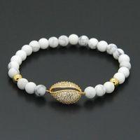 american venus - 10pcs mm White Howlite Stone Venus Flytrap Micro Pave Piranha Cubic Zirconia On Copper Beads Cz Bracelets