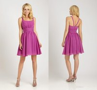 Wholesale Simply Short Chiffon Dresses - Cute Light Purple Short Bridesmaid Dresses A Line Square Neckline Pleated Chiffon Cheap Knee Length Simply Maid Of Honor Gowns