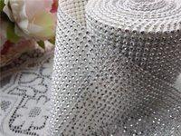 beads on ribbon - 24 Row Yard White partten Silver Bead Ribbon Rhinestone Mesh Trim Wrap Elegant Wedding Venue Decorations Sew On Material