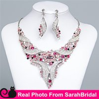 arabic jewelry - 2016 Ruchsia Statement Necklaces and Chandelier Earrings Sets for Bridesmaids Jewelry Arabic Lady Women s Prom Party Wedding Evening B