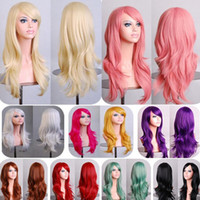 Wholesale Cheap New Sexy Fashion Womens Girls Wavy Curly Long Hair Human Full Wigs With Bang AAABOM cos002 Colorful Hair Wigs pc Free Ship