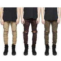 justin boots - Kanye West Designer Clothes Men Jeans Rockstar Justin Bieber Ankle Zipper Destroyed Skinny Ripped Masticate Jeans Fear Of God