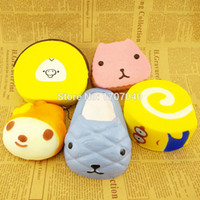 Wholesale Cute Jumbo Squishy Bread Phone Straps My Melody Minions Kapibarasan Cartoon Cakes Toys