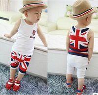 baby union suit - 2016 Summer children s clothing Korean boy suit new fashion Vest pants Two Piece Set baby kid union flag boys cotton suit