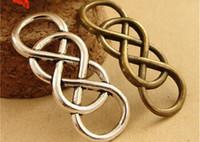 achat en gros de infini lien bracelet-A3684 12 * 32MM Antique Bronze Un charme de connecteur double bracelet liens 8 mot manuel de liaison, matériel de bricolage charmes infini pendentif argent