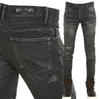 Wholesale Mens Balmain Destroyed Denim Biker Jeans Grey NWT size