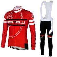 Wholesale Castélli Cycling Jerseys Red White Long Sleeve Top Bicycle Clothing Padded Bib None Bib Pants Autumn Winter Fleece None Fleece Sports