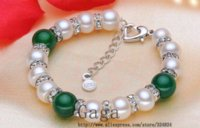 agate cultured pearls - Gaga natural freshwater pearl bracelet Green Agate genuine Bracelet cultured bracelet for woman bracelet toy