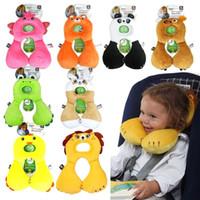 Wholesale PrettyBaby Travel Headrest Support Cartoon Animal baby child Neck U shaped Car Travel seat cushion pillow cotton neck u pillow
