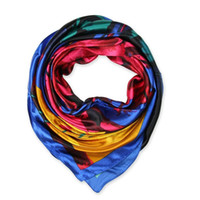 hand painted silk scarf - 90cm cm New Fashion Silk Square Scarf Women Imitated Silk Abstract Geometric Hand Painting Printed Scarves Shawl Hijab
