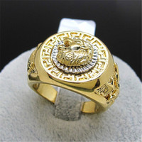 Wholesale Men s jewelry Classic KGP Yellow Gold lion s Head Eagle Men s Ring Retail and