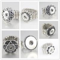 al por mayor botón anillo de metal-venta caliente de cristal Noosa redondo elegante broche de metal anillos del botón de ajuste flexibles botones a presión 12MM de moda accesorios de bricolaje mujeres al por mayor R005