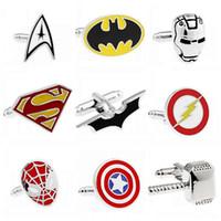 Wholesale Fashion Jewelry Style Cufflink Superman Star Wars Batman Spiderman Cuff Llinks for Male Female Mix Order CK0911