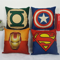Wholesale 45cm cm Green Lantern Superman Batman SpiderMan American Captain Iron Man Home Decor cushion Linen pillow sofa cushions