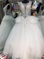 arrival details - new arrival real photos puffy ball gown plus size wedding dresses jewel neckline lace appliques beaded wedding gowns