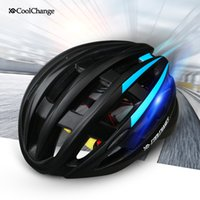 Wholesale Coolchange Wind Row Bicycle Light Helmet Insect Net Cycling Helmet Ultralight Integrally molded Bike Road Helmet Warning lights helmet