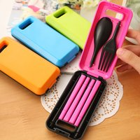 Wholesale Portable tableware Picnic Tableware Set Separable Spoon Fork Chopsticks Protable ABS Plastic Camping Picnic BB12