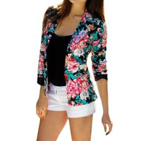 Wholesale S5Q Women Casual Fashion Slim Business Blazer Suit Long Sleeve Floral Short Coat AAAFYA