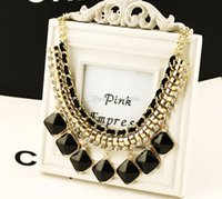 Wholesale Fashionable Collarbone Necklace Sweater Chain Coat Necklace Black Gem Pendent Rhinestone Crystal Jewelry Jewellery Valentine Gift Free Ship