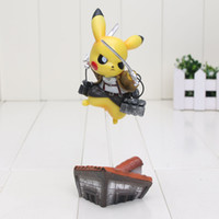 Wholesale 15cm14cm Pikachu Cosplay Attack on Titan figure attack on pikachu PVC Action Figure Model Toy Gift