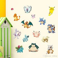 Wholesale Poke Game Character Stickers cm Pocket Monster Action Anime Classic Toys Poke Mon Squirtle Charmander Pikachu Stickers For Wall