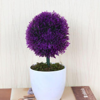 artificial plants and trees - Luyue Artificial Flower Plastic tree Fake Green Plant With Vase Office and table decoration Home Dec