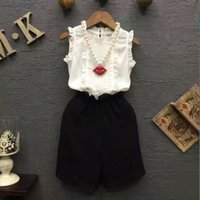 Cheap 2016 Korean Style Childrens Fashion Princess Outfit New Sleeveless Cotton T-shirt And Chiffon Wide Leg Pants 2 Pieces Set Kids Clothes