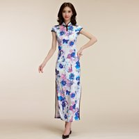 beautyful dress - 2016 New Arrival Beautyful Chinese Style Sheath Long Dress for evening Party or Wedding Party Colourful Printing Short Sleeve Maxi sundress