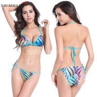 Além de roupas de banho de moda de tamanho Preços-Moda New Bikinis Mulheres 2016 Imprimir Floral Bikini Mulheres Swimsuit Bathing Suits Plus Size Swimwear Feminino XXL