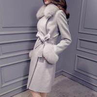 Wholesale Large Fox Fur Collar Wool Cashmere Coat Autumn Winter New Slim Long Women Coat Color Plus Size Casaco Feminino AW0307