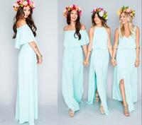beach match - 2016 New Fashion Bohemian Bridesmaid Dresses Long Three Mix and Match Style Drop Waist A Line Flowy Chiffon Boho Beach Wedding Dress Cheap