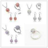 beautiful australia - Australia Natural Crystal Earring Ring Necklace Set Pandora Beads Rhinestone Jewelry Female Beautiful Crystal Beads Jewelry