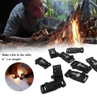 Wholesale 10pcs Portable Flint Fire Starter Side Release Survival Whistle Buckle with Paracord Bracelet Emergency Tools